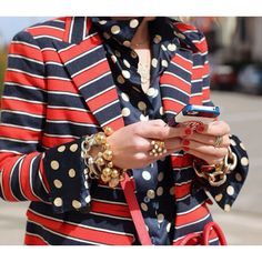 Stripes, polka dots & extreme accessorizing make this conservative look edgy