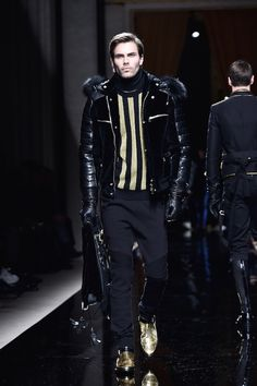 Balmain spring/summer 2016 on the runway during Paris Fashion Week Men's