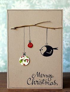 Take your creative skills to the next level with these unique homemade Christmas cards.See more ideas about DIY Christmas Cards Quick And Easy To Make . Homemade Christmas Cards, Homemade Cards, Christmas Diy, Button Christmas Cards, Xmas Cards To Make, Diy Holiday Cards, Merry Christmas, Simple Christmas, Navidad Diy