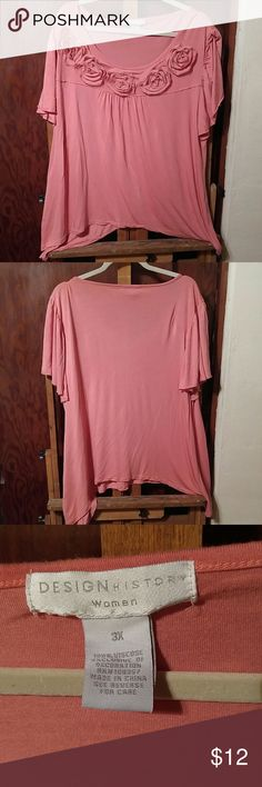 Salmon Pink Roses Blouse Light and delicate t-shirt-like blouse with fabric roses along top, slight Sharkbite hemline, and flutter sleeves with unfinished edges.  Size 3X, true to size, some stretch. 100% Viscose. EUC.  Feminine, super soft, and breezy. Design History Tops Blouses