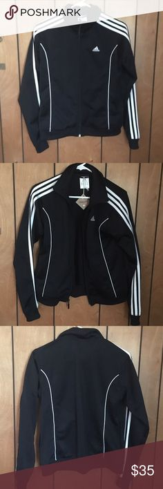 Adidas Classic Track Jacket Women's size L Adidas Track Jacket. Classic with strips running down arms. I'm a size small and the jacket fits me nicely, slightly loose for a nice look. No trades please. Adidas Jackets & Coats