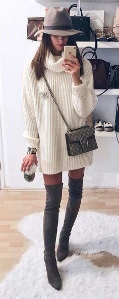 trendy fall outfit : hat + bag + over the knee boots + white sweater dress weather