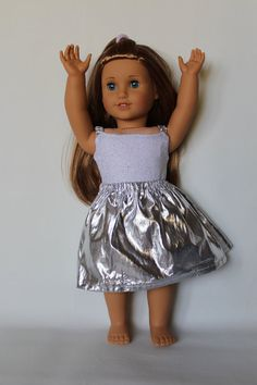 American Girl  Ballet Outfit Silver also fits by DewdropDreams2012, $16.00