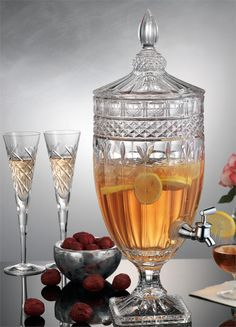 beverage dispenser | Shannon Crystal Glass Footed Drink Dispenser 1 Gallon