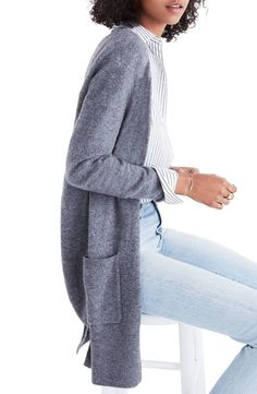 A supersoft longline cardigan with layer-ready side slits is great to wear in the winter months (or when the office is really cold).