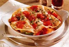 Roasted Vegetable and Prosciutto Lasagna with Alfredo Sauce / Angie Norwood