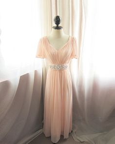 Blush Pink Romantic Dusty Rose Soft Ethereal Flowy Victorian Medieval Jane Austen Alice in Wonderland Angel Marie Antoinette Vintage Gown. $168.50, via Etsy.