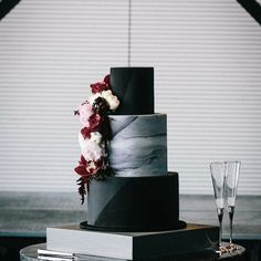 black party theme, banners, table placements, decor, cake, and more!