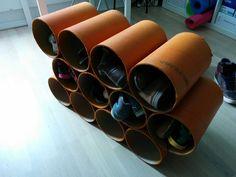 DIY shoe storage from cardboard pipe - Imgur