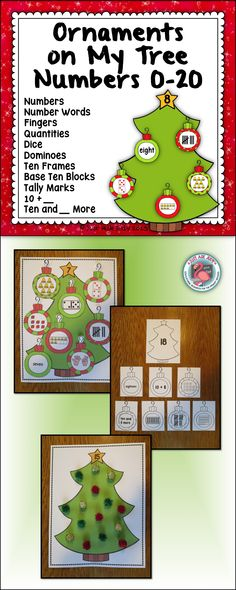 This number sense sorting activity includes full page size color and black/ white Christmas tree mats with the numbers 0-20, alternate one-fourth page size color and black/ white Christmas tree headers with the numbers 0-20, and color and black/ white ornament cards (9 per page) showing the numbers 0-20 represented in 10 ways. $ PreK-K