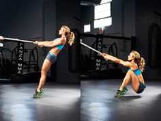 Smoking Hot Leg Muscles - The Rope Squat exercise for targeting quads and hip flexors