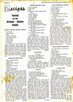 Vintage Recipe Kitchen Klatter Magazine March 1974 Page 12