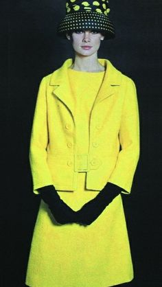 1960's fashion - jean shrimpton yellow suit outfit Jackie O style wool black gloves hat model print ad