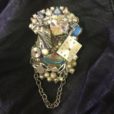 Victorian steampunk fabulosity Artisan assemblage brooch/pin with pearls, crystals, watch parts, chain. Jewelry Brooches