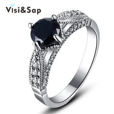 Visisap Blanc or Couleur anneau noir pierre 2ct cubique zircon Anneaux Pour Les femmes De Mariage anel bague de fiançailles bijoux de mode VSR243