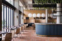 Rick Stein restaurant bar at Bannisters Port Stephens, Sydney, Australia Bar Design Awards, Interior Design Awards, Bar Interior, Restaurant Interior Design, Rick Stein, Design Studio, Cafe Design, Design Design, Plywood Furniture