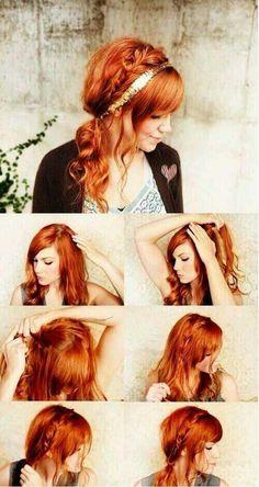 【cuteなアレンジ】 ①左→右へ編み込み  ②編み込みと後ろの髪を1つ結び ③かわいいカチューシャをつけてね ※事前に巻いてふわくしゅ感出せれば上級者♡