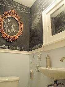 Chalkboard paint above chair rail in bathroom. So fun for kid's bathroom! Love the gold frame as a fun accent!