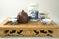 tea trays. This is Kung Fu style tea set up. Have someone make it for you, then you'll know how to do it at home. After drinking a few pots of this style tea, everyone is happy!