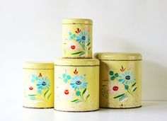 Stored and Pretty  Vintage Ransburg Metal Canister Set by becaruns, $48.00