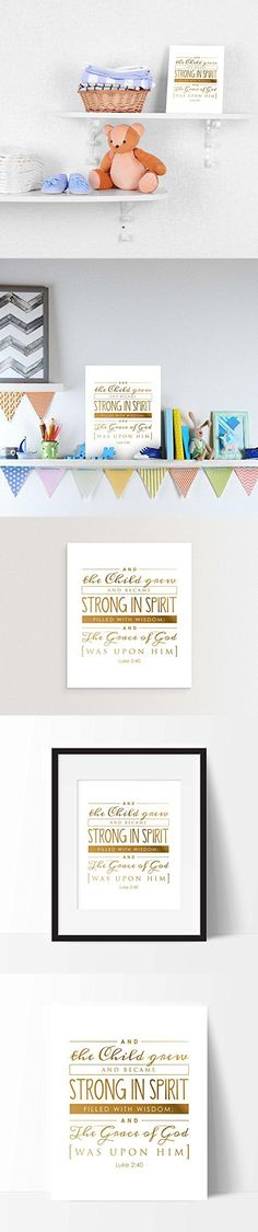 """And the child grew, Luke 2;40 Print by Ocean Drop Photography (8x10"""") - Perfect Communion, Baptism, Christening or Baby Gift - Beautiful Gold & White Typography Artwork - Ready to Hang, Hanger Inc."""