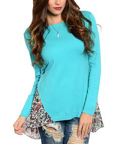 This Mint & Burgundy Paisley Wool-Blend Tie-Back Sweater by  is perfect! #zulilyfinds