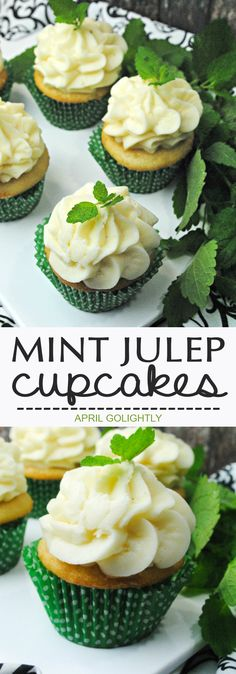 Easy Mint Julep Cupcake Recipe - instead of making a cocktail this summer - make drink inspired cupcakes for your next party as a dessert