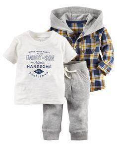 Baby Boy 3-Piece Hooded Shirt Set | Carters.com