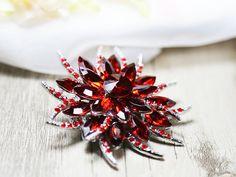 Roter Kristall Brosche Pin Strass Brosche Braut Brosche