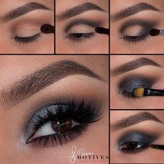 New makeup morenas ojos grandes Ideas Smokey Eye Makeup Look, Eye Makeup Cut Crease, Glitter Eye Makeup, Makeup For Brown Eyes, Eyeshadow Makeup, Lip Makeup, Makeup Cosmetics, Beauty Makeup, Makeup Looks