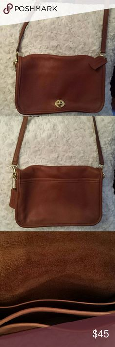 Coach Vintage Brown Leather Crossbody Bag Coach  Soft Brown leather Crossbody bag 9755 serial number  Good condition / some little stains on leather and inside see pic Otherwise nice Suede inside Coach  Bags Crossbody Bags