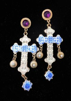 Portugal Antique Azulejo Tile Replica CROSS Earrings with by Atrio