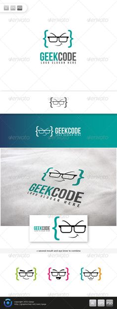 Geek Code Logo Template PSD, Vector EPS, AI Illustrator. Download here: https://graphicriver.net/item/geek-code-logo-02/6044837?ref=ksioks