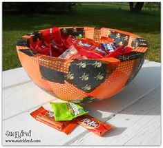 decoupage smoothfoam Halloween Treat Bowl