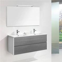 Wall Hung Double Ceramic Basin with 2 Drawers & LED Mirror, Grey Ash Bathroom Furniture, Bathroom Ideas, Led Mirror, Vanity Units, Basin, Drawers, Deco, Wall, Bathrooms