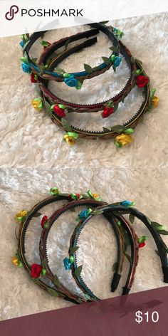 Three flower crown headbands Three like new flower crown headbands with braided design. Ribbon and leather. And on plastic comb  headbands. Accessories Hair Accessories
