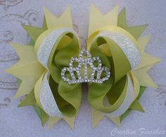 Tiana Hair Bow Tiara Rhinestone Center by CreativeFinishesBows  #rrrhairbow