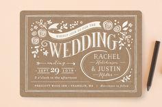 """""""Alabaster Florals"""" - Floral & Botanical, Vintage Wedding Invitations in Slate by Jennifer Wick."""