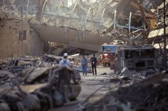 POST WTC 7 COLLAPSE. Vesey Street pedestrian bridge. WTC 7 pile on right.