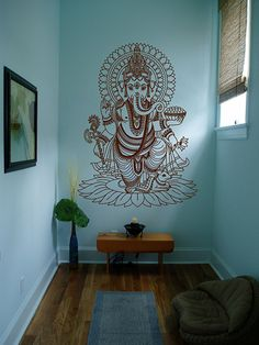 kik430 Wall Decal Sticker Indian god Ganesha Hindu welfare bedroom living room yoga room