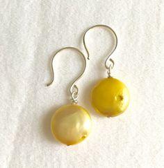 Yellow Freshwater Pearl Earrings // Yellow by PandaStringsJewelry