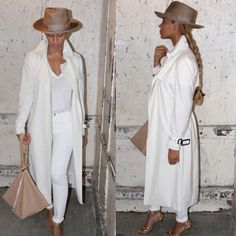 1 beyonce Beyonce's Barneys New York White Trench, Ugo Mozie Designs Camel Hat, Givenchy Triangle Large Grained Calfskin Wristlet, and Charlotte Olympia Soho Studded PVC Ankle-Wrap Sandal