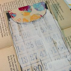 my notecard is inspired by Roben-Marie- itis a re-purposed bingo card painted with gesso with a gelli plate printed paper i cut out to fit.