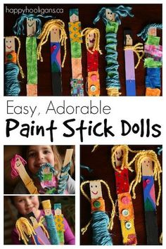 Paint Stick Dolls with Fabric Scraps and Yarn