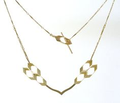 Gold Necklace/ Geometric Necklace/ Chevron by OwnStudiobyEfrat