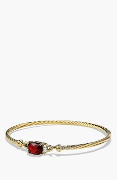 David Yurman 'Wheaton' Petite Bracelet with Garnet and Diamonds in Gold available at #Nordstrom