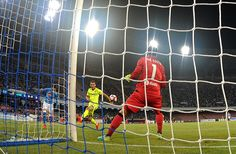 Napolis player Jose Callejon scores the goal of 1-0 during the Serie A match…