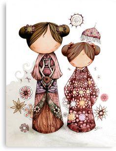 Kokeshi in the zen garden Art And Illustration, Illustrations, Momiji Doll, Kokeshi Dolls, Matryoshka Doll, Image Deco, Asian Doll, Framed Canvas Prints, Japanese Art