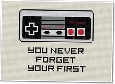 35 DIY Cross Stitch Patterns for the Geek at Heart - DIY for Life Vintage Nintendo Controller Cross Stitching, Cross Stitch Embroidery, Hand Embroidery, Cross Stitch Patterns, Funny Embroidery, Geeks, Pixel Art, Le Point, Needlepoint