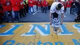 Nov. 2: Red Sox Victory Parade | redsox.com: Photos. Johnny Gomes places WS trophy at Boston Marathon finish line. Boston Strong